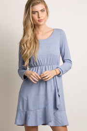 Blue Solid Wrap Ruffle Trim Dress