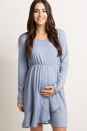Blue Solid Wrap Ruffle Trim Maternity Dress