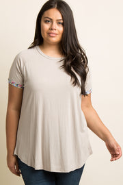 Taupe Floral Trim Plus Tee
