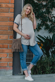 Beige Floral Trim Plus Maternity Tee