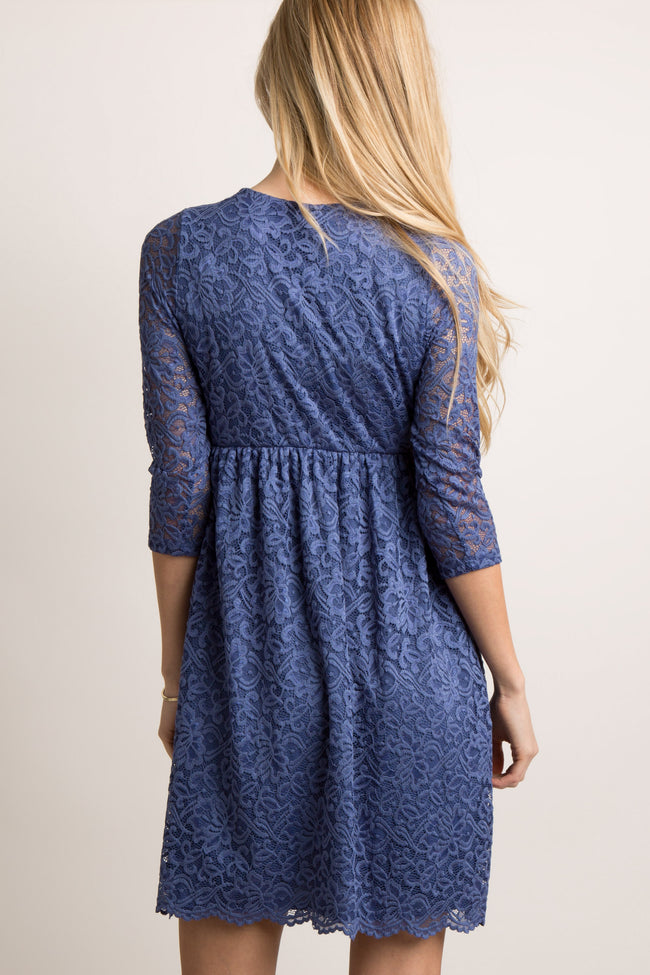 Navy Blue Lace Overlay Wrap Dress