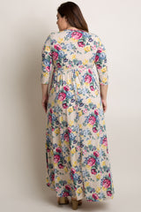 Taupe Floral Plus Wrap Maxi Dress