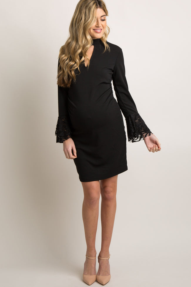 Black Cutout Front Lace Trim Fitted Maternity Dress
