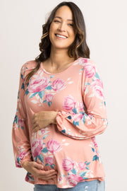 Peach Floral Puff Sleeve Maternity Top