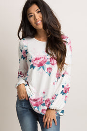 Ivory Floral Puff Sleeve Top