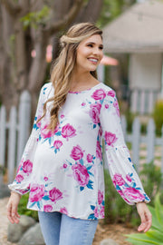 Ivory Floral Puff Sleeve Maternity Top