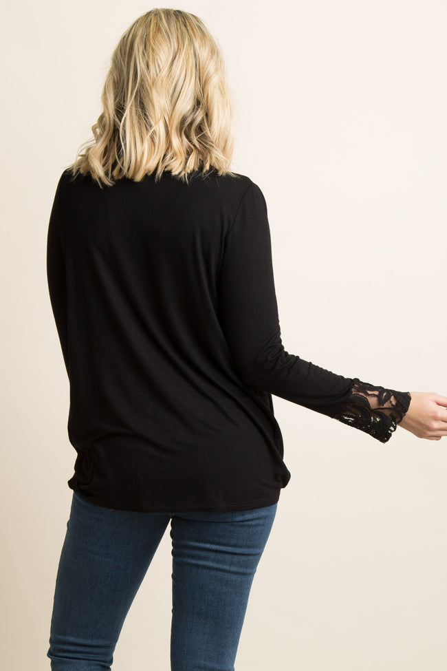 PinkBlush Black Lace Sleeve Draped Front Maternity Top