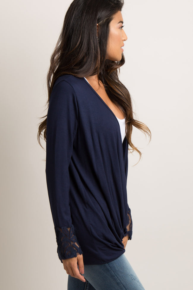 PinkBlush Navy Lace Sleeve Draped Front Maternity Top