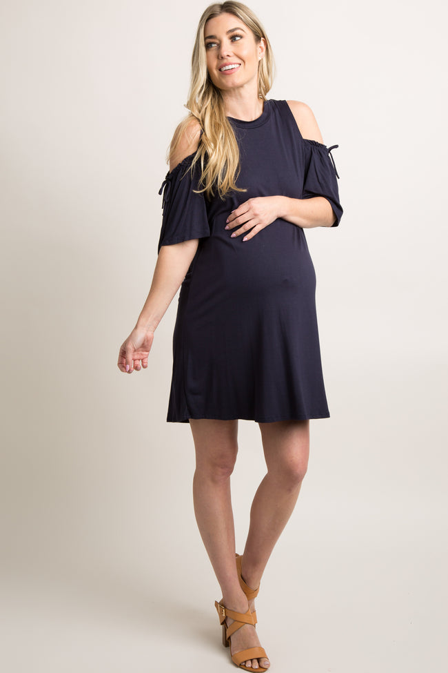 Navy Cold Shoulder Tie Accent Maternity Dress