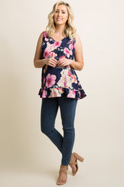 Navy Floral Chiffon Ruffle Trim Maternity Top