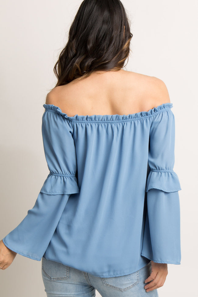 Blue Chiffon Off Shoulder Maternity Top