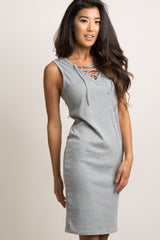Grey Sleeveless Lace-Up Fitted Dress