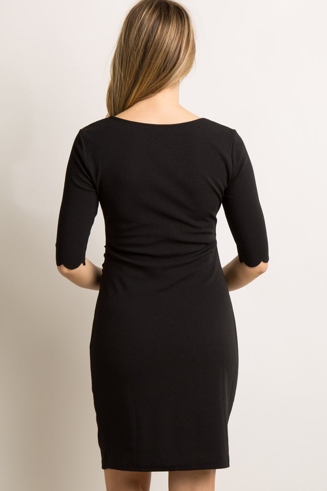 Black Solid Scalloped Trim Fitted Maternity Dress