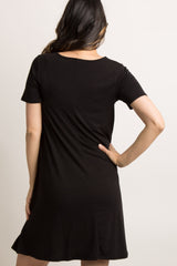 Black Solid Short Sleeve Maternity Swing Dress