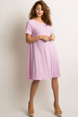 Lavender Solid Short Sleeve Swing Dress