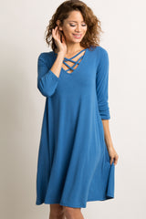 Blue Solid Crisscross Caged Swing Dress