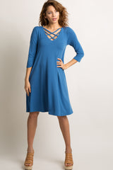 Blue Crisscross Caged Maternity Swing Dress