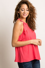 Coral Mock Neck Ruffle Trim Sleeveless Top