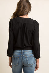 Black Solid Chiffon Wrap Tie Blouse