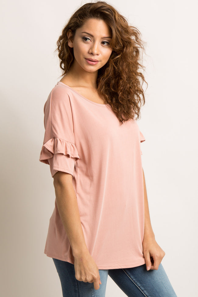 Light Pink Solid Ruffle Sleeve Top