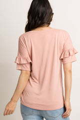 Light Pink Solid Ruffle Sleeve Maternity Top
