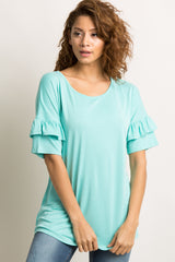 Mint Green Solid Ruffle Sleeve Top
