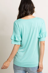 Mint Green Solid Ruffle Sleeve Maternity Top