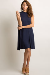 Navy Blue Sleeveless Mock Neck Maternity Dress