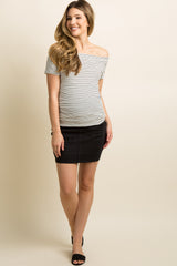 Black Distressed Raw Cut Hem Maternity Denim Skirt