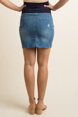 Blue Distressed Button Down Maternity Denim Skirt