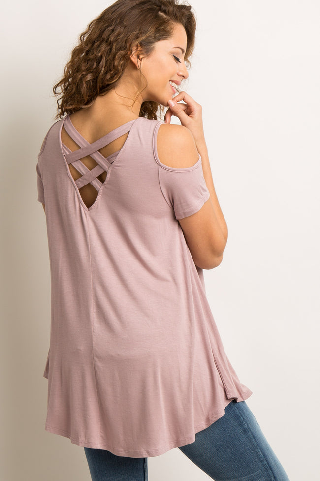 Mauve Crisscross Back Cold Shoulder Top