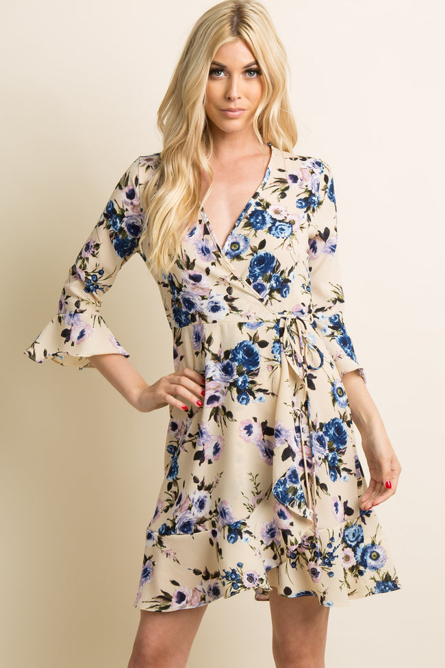 Cream Floral Tie Waist Ruffle Wrap Dress
