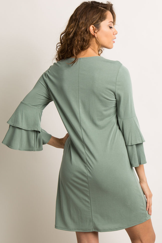 Light Olive Cross Front Ruffle Sleeve Dress