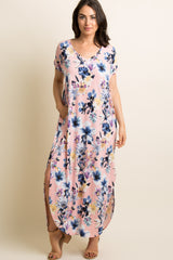Pink Floral V-Neck Maternity Maxi Dress