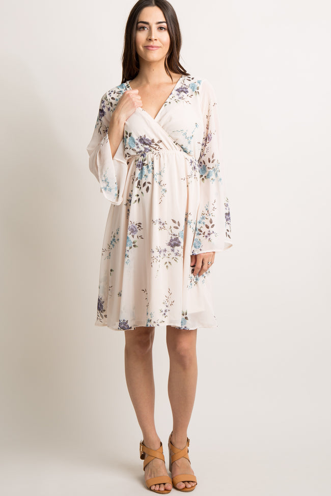 Light Pink Floral Chiffon Bell Sleeve Wrap Maternity Dress