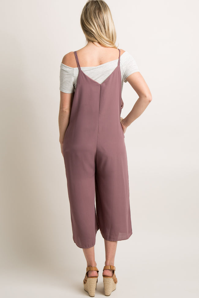 Mauve Wide Leg Cropped Maternity Jumpsuit