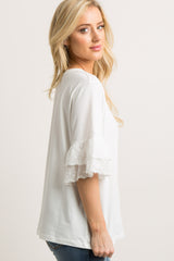 Ivory Embroidered Layered Ruffle Sleeve Top