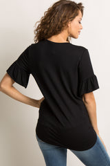 Black Ruffle Sleeve Tie Front Top