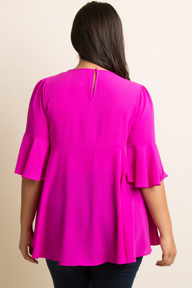 Magenta Solid Cutout Ruffle Trim Plus Blouse