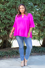 Magenta Solid Cutout Ruffle Trim Plus Maternity Blouse