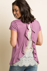 Mauve Ruffle Trim Lace Back Top