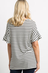Ivory Striped Ruffle Sleeve Maternity Top