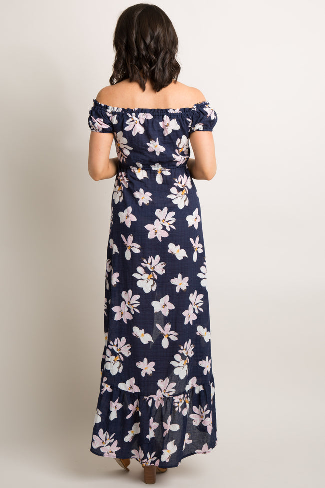 Navy Floral Button Up Off Shoulder Hi-Low Dress