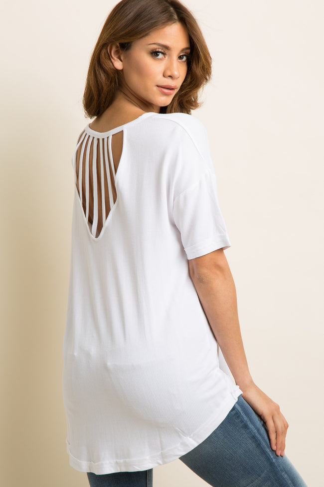 White Solid Strappy Cutout Back Maternity Top