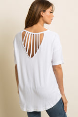 White Solid Strappy Cutout Back Top
