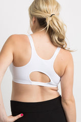 White Solid Cutout Racerback Maternity Sports Bra