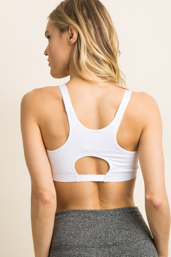 White Solid Cutout Racerback Sports Bra