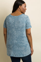 Blue Heathered Cutout Front Plus Maternity Top