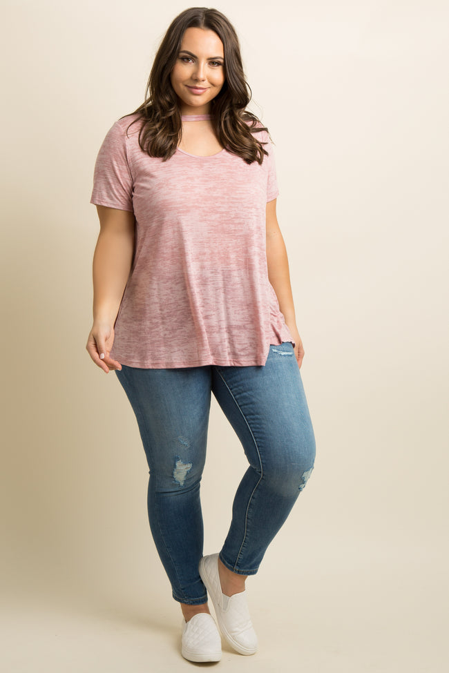 Pink Heathered Cutout Front Plus Top