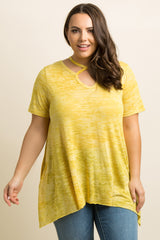 Yellow Heathered Crisscross Accent Plus Top
